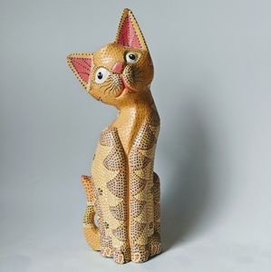 VTG Hand Painted MCM Kitty Statue